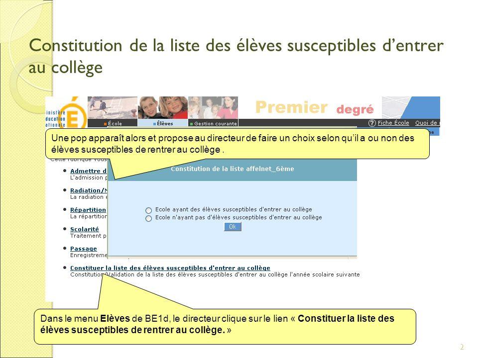 2 Constitution de la liste des élèves susceptibles dentrer au collège Dans le menu Elèves de BE1d, le directeur clique sur le lien « Constituer la liste des élèves susceptibles de rentrer au collège.