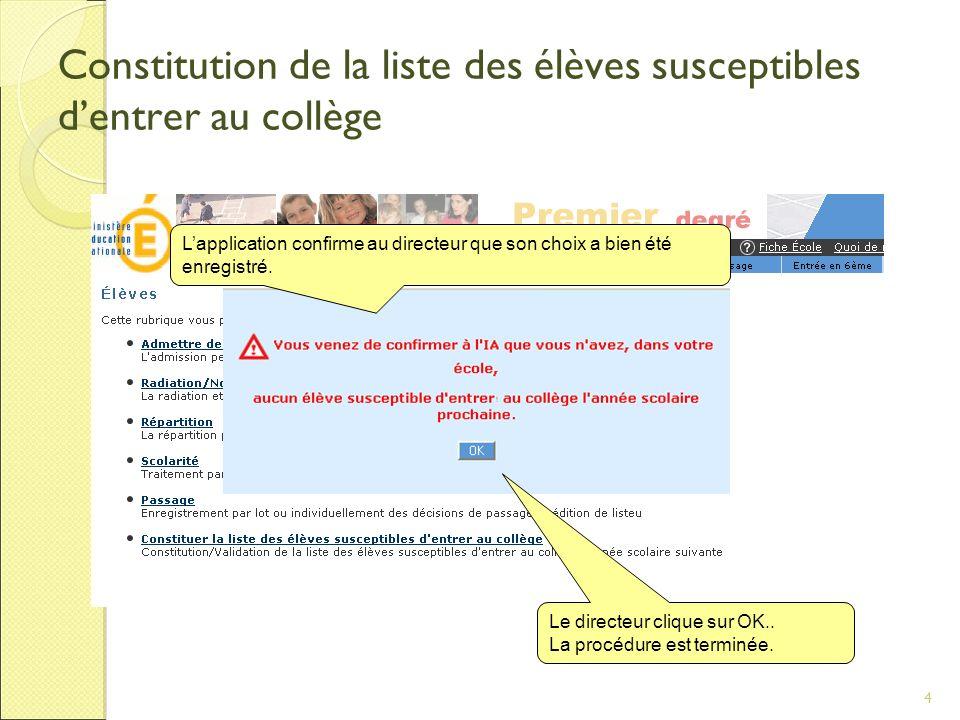 4 Constitution de la liste des élèves susceptibles dentrer au collège Le directeur clique sur OK..