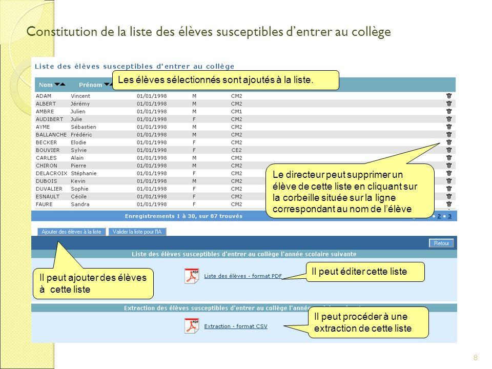 8 Constitution de la liste des élèves susceptibles dentrer au collège Les élèves sélectionnés sont ajoutés à la liste.