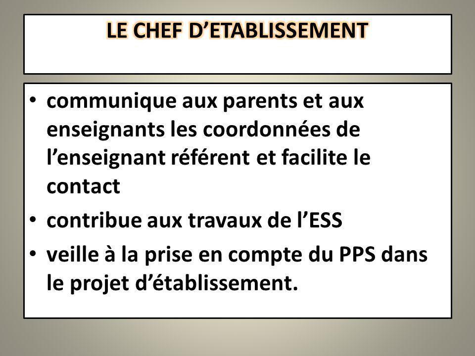 communique aux parents et aux enseignants les coordonnées de lenseignant référent et facilite le contact contribue aux travaux de lESS veille à la prise en compte du PPS dans le projet détablissement.