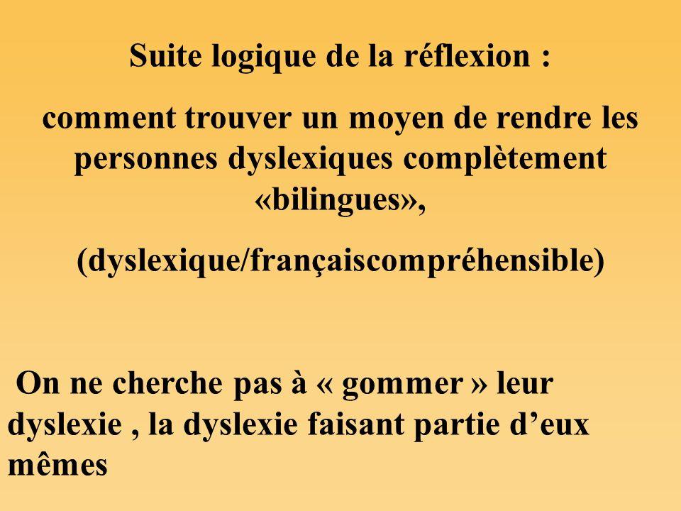 Suite logique de la réflexion : comment trouver un moyen de rendre les personnes dyslexiques complètement «bilingues», (dyslexique/françaiscompréhensi