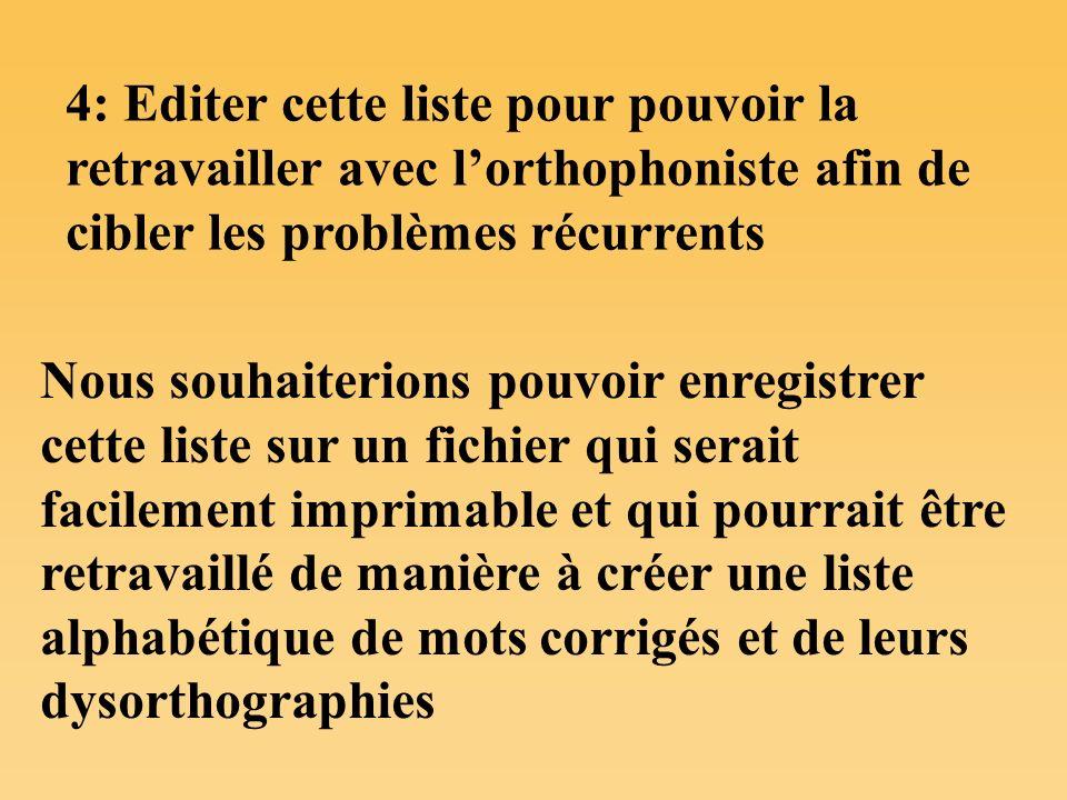 4: Editer cette liste pour pouvoir la retravailler avec lorthophoniste afin de cibler les problèmes récurrents Nous souhaiterions pouvoir enregistrer