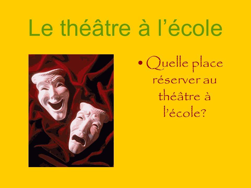 Le théâtre à lécole Quelle place réserver au théâtre à lécole?
