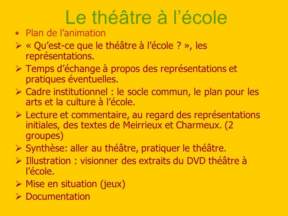 Le théâtre à lécole Plan de lanimation « Quest-ce que le théâtre à lécole ? », les représentations. Temps déchange à propos des représentations et pra