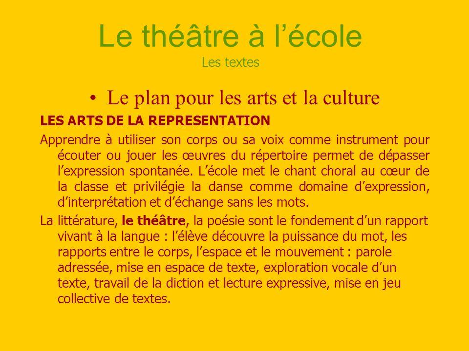 Le théâtre à lécole Les textes Le plan pour les arts et la culture LES ARTS DE LA REPRESENTATION Apprendre à utiliser son corps ou sa voix comme instr