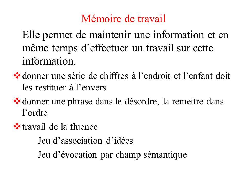 Mémoire de travail Elle permet de maintenir une information et en même temps deffectuer un travail sur cette information. donner une série de chiffres