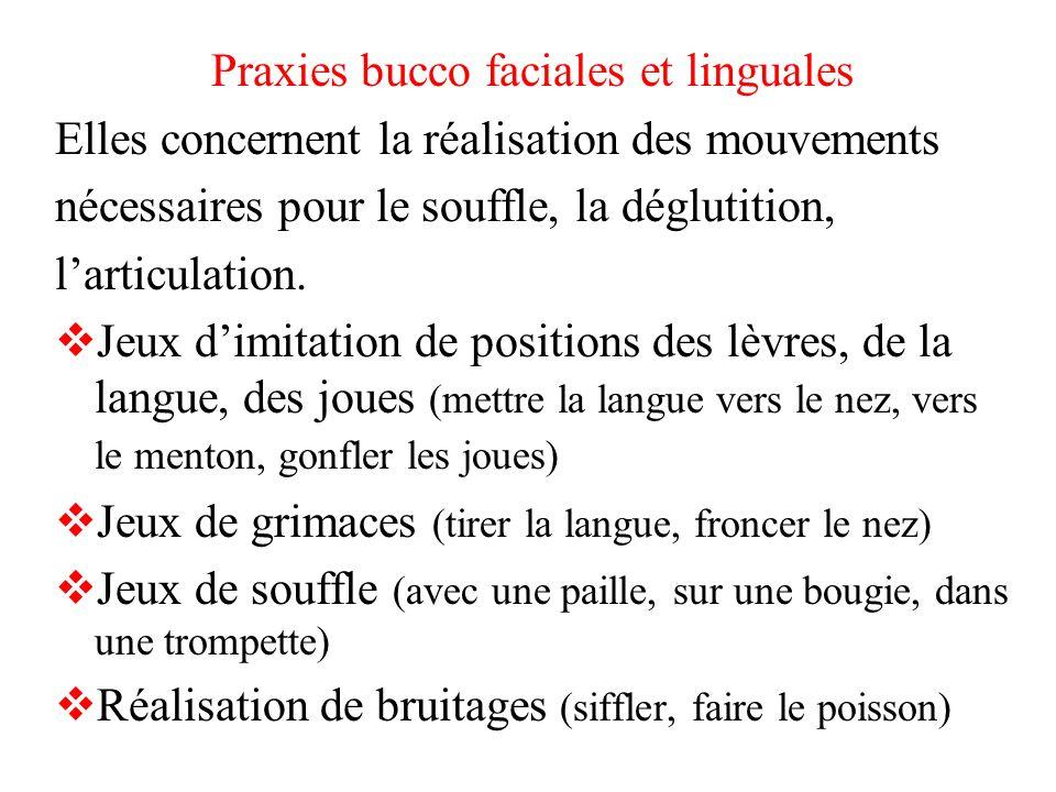 Praxies bucco faciales et linguales Elles concernent la réalisation des mouvements nécessaires pour le souffle, la déglutition, larticulation. Jeux di