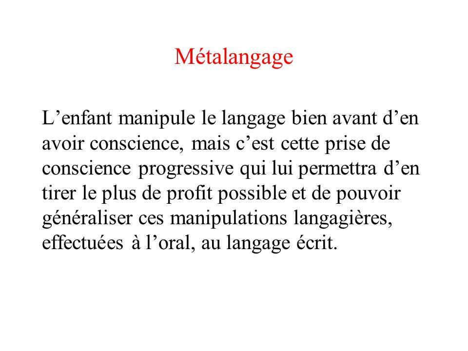 Métalangage Lenfant manipule le langage bien avant den avoir conscience, mais cest cette prise de conscience progressive qui lui permettra den tirer l