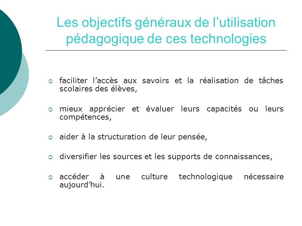 Les objectifs généraux de lutilisation pédagogique de ces technologies faciliter laccès aux savoirs et la réalisation de tâches scolaires des élèves,