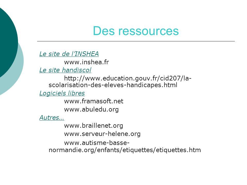 Des ressources Le site de lINSHEA www.inshea.fr Le site handiscol http://www.education.gouv.fr/cid207/la- scolarisation-des-eleves-handicapes.html Log