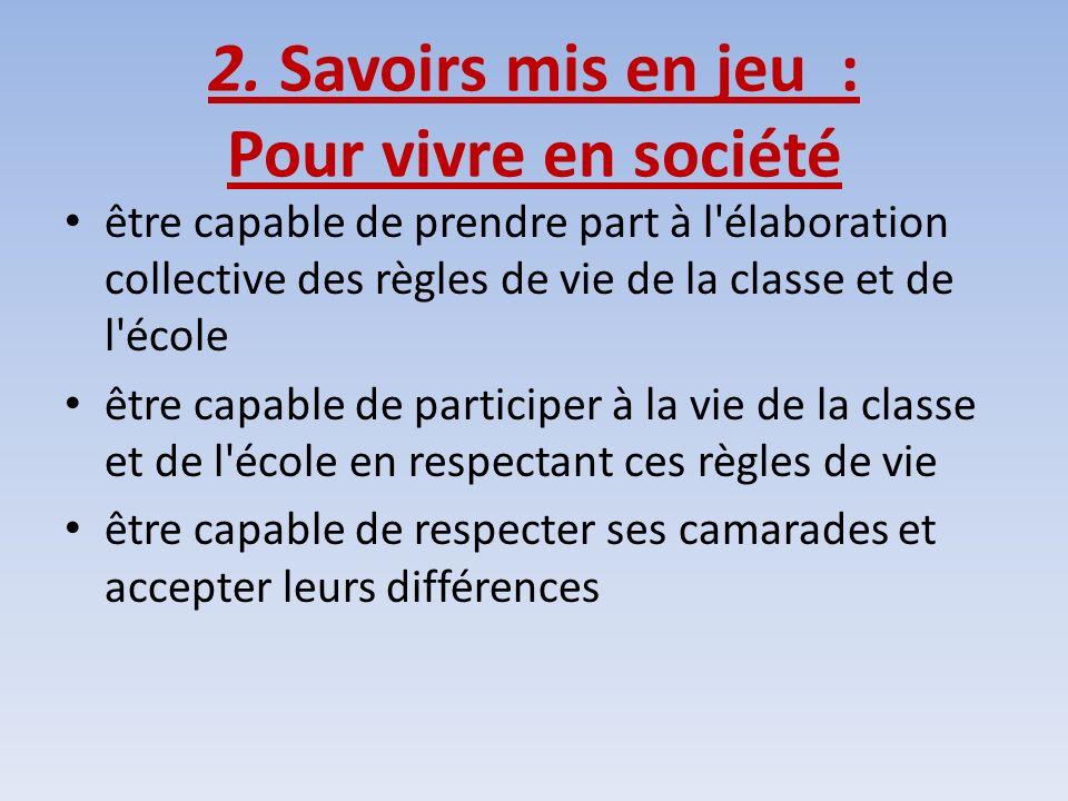 2. Savoirs mis en jeu : Pour vivre en société être capable de prendre part à l'élaboration collective des règles de vie de la classe et de l'école êtr