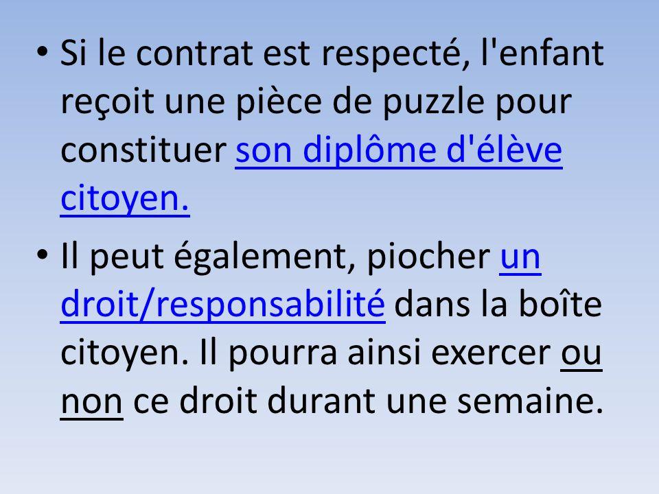 Si le contrat est respecté, l'enfant reçoit une pièce de puzzle pour constituer son diplôme d'élève citoyen.son diplôme d'élève citoyen. Il peut égale