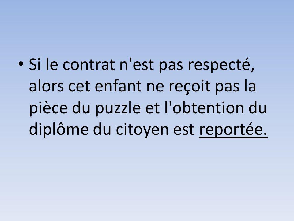 Si le contrat n'est pas respecté, alors cet enfant ne reçoit pas la pièce du puzzle et l'obtention du diplôme du citoyen est reportée.