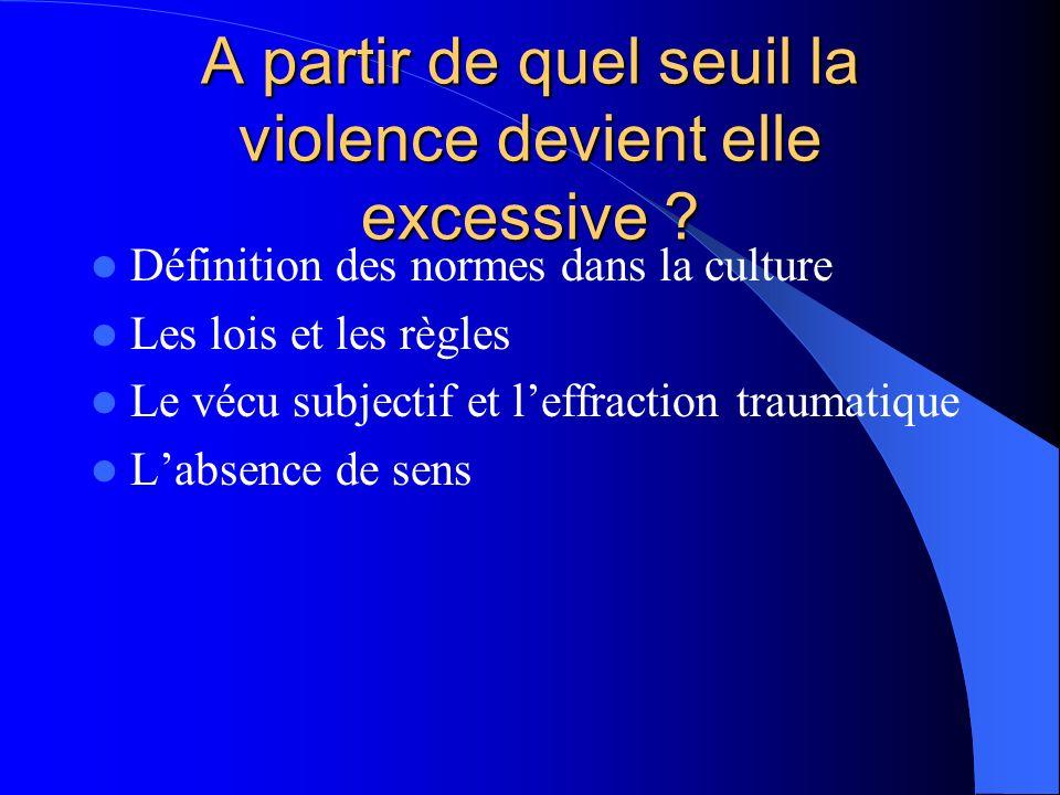 A partir de quel seuil la violence devient elle excessive ? Définition des normes dans la culture Les lois et les règles Le vécu subjectif et leffract