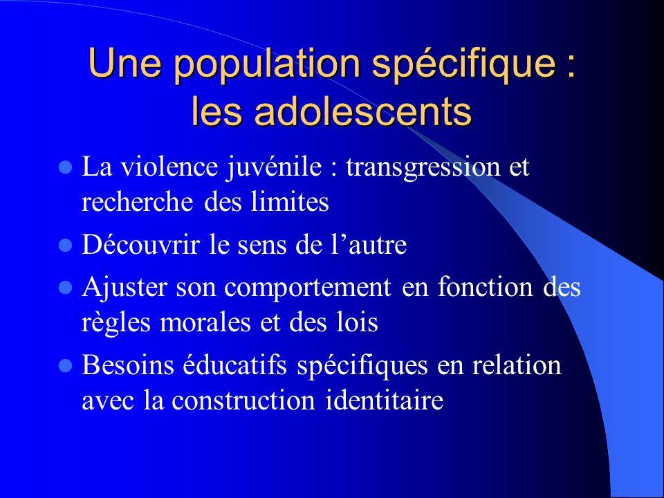 Une population spécifique : les adolescents La violence juvénile : transgression et recherche des limites Découvrir le sens de lautre Ajuster son comp
