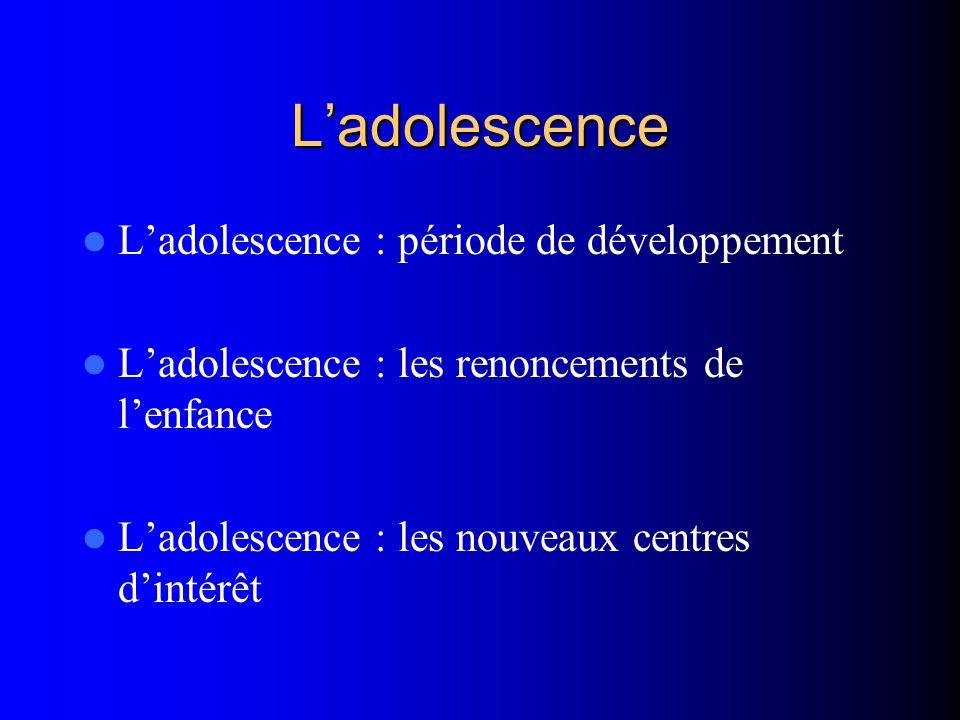 Ladolescence Ladolescence : période de développement Ladolescence : les renoncements de lenfance Ladolescence : les nouveaux centres dintérêt