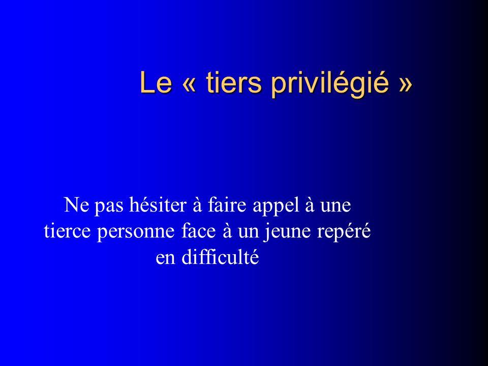 Le « tiers privilégié » Ne pas hésiter à faire appel à une tierce personne face à un jeune repéré en difficulté