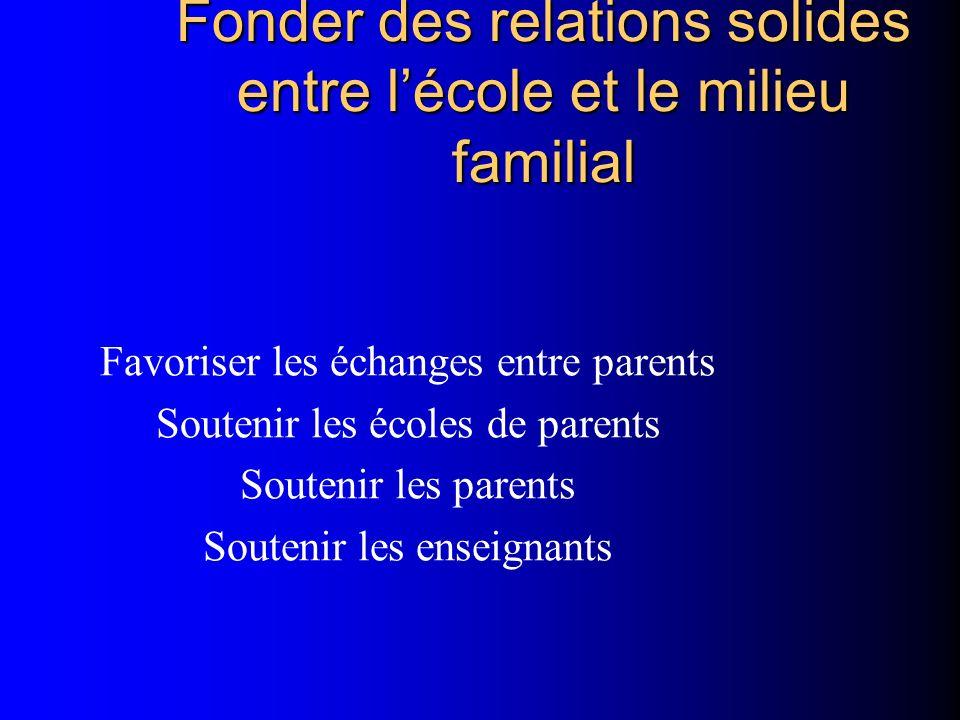 Fonder des relations solides entre lécole et le milieu familial Favoriser les échanges entre parents Soutenir les écoles de parents Soutenir les paren