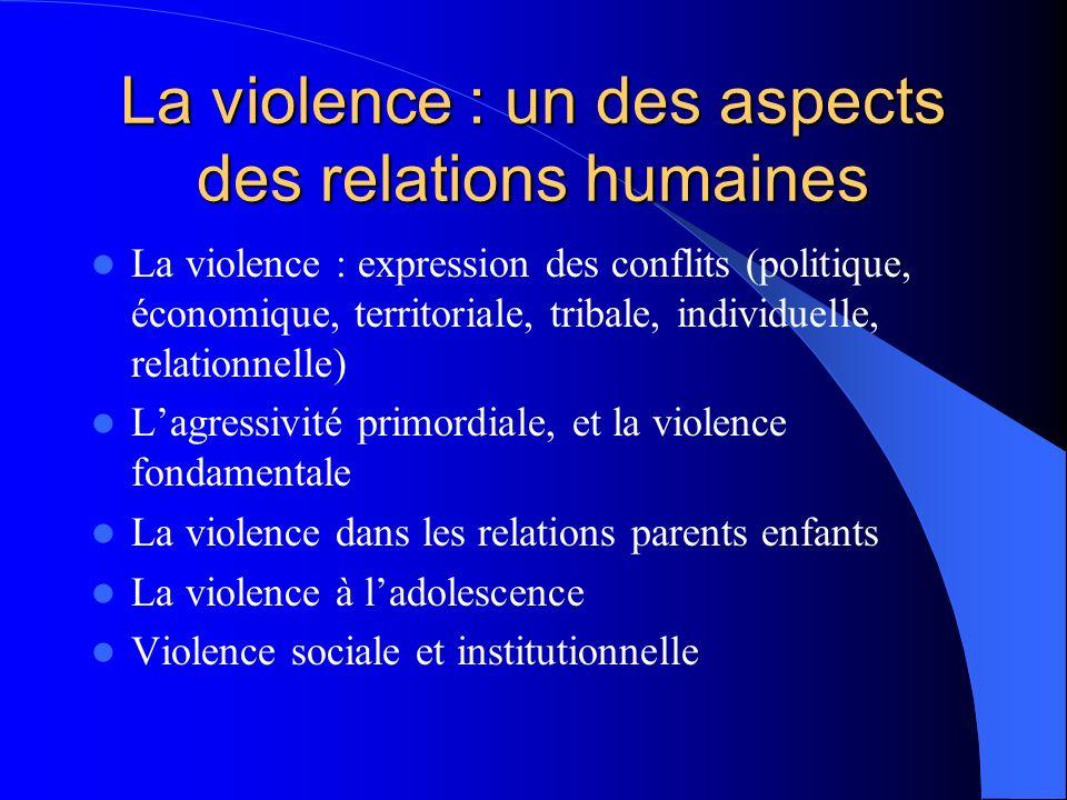 La violence : un des aspects des relations humaines La violence : expression des conflits (politique, économique, territoriale, tribale, individuelle,