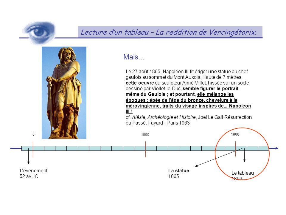 Lecture dun tableau – La reddition de Vercingétorix. 01800 Lévénement 52 av JC Le tableau 1899 1000 Mais... Le 27 août 1865, Napoléon III fit ériger u