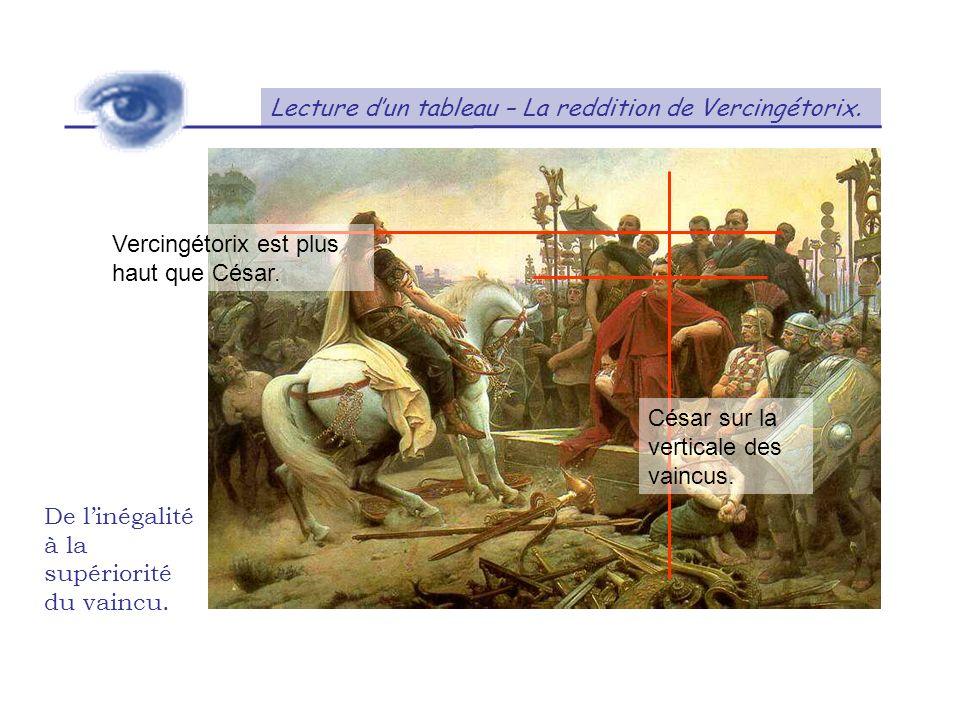 Lecture dun tableau – La reddition de Vercingétorix. De linégalité à la supériorité du vaincu. Vercingétorix est plus haut que César. César sur la ver