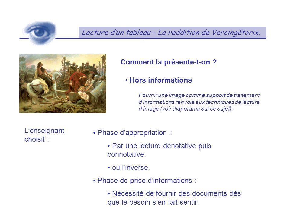 Lecture dun tableau – La reddition de Vercingétorix. Comment la présente-t-on ? Hors informations Fournir une image comme support de traitement dinfor