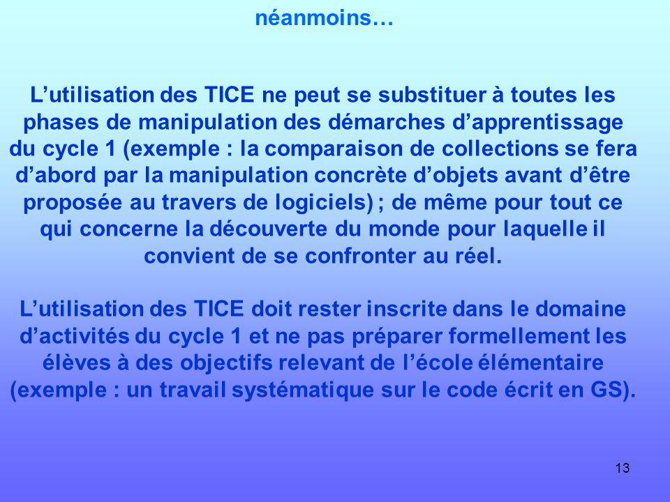 13 néanmoins… Lutilisation des TICE ne peut se substituer à toutes les phases de manipulation des démarches dapprentissage du cycle 1 (exemple : la co