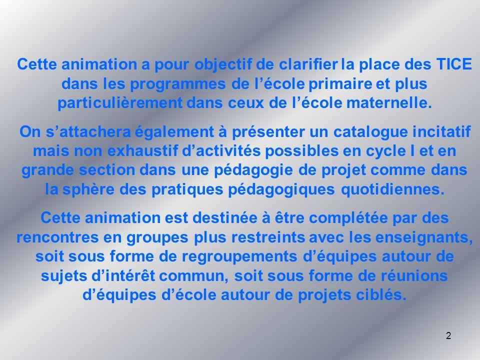 3 Sommaire 1.TICE et textes officiels.2.Un outil au service des projets.