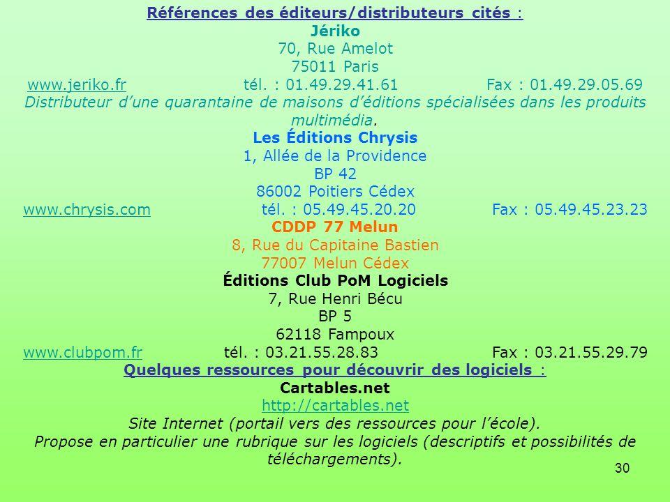 30 Références des éditeurs/distributeurs cités : Jériko 70, Rue Amelot 75011 Paris www.jeriko.fr tél. : 01.49.29.41.61 Fax : 01.49.29.05.69 Distribute