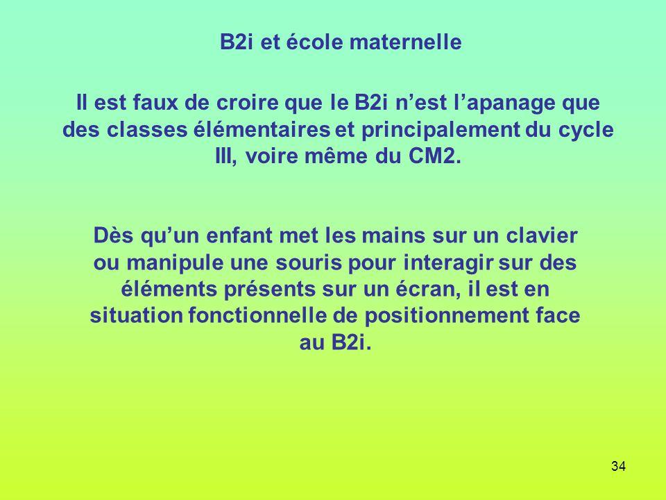 34 B2i et école maternelle Il est faux de croire que le B2i nest lapanage que des classes élémentaires et principalement du cycle III, voire même du C