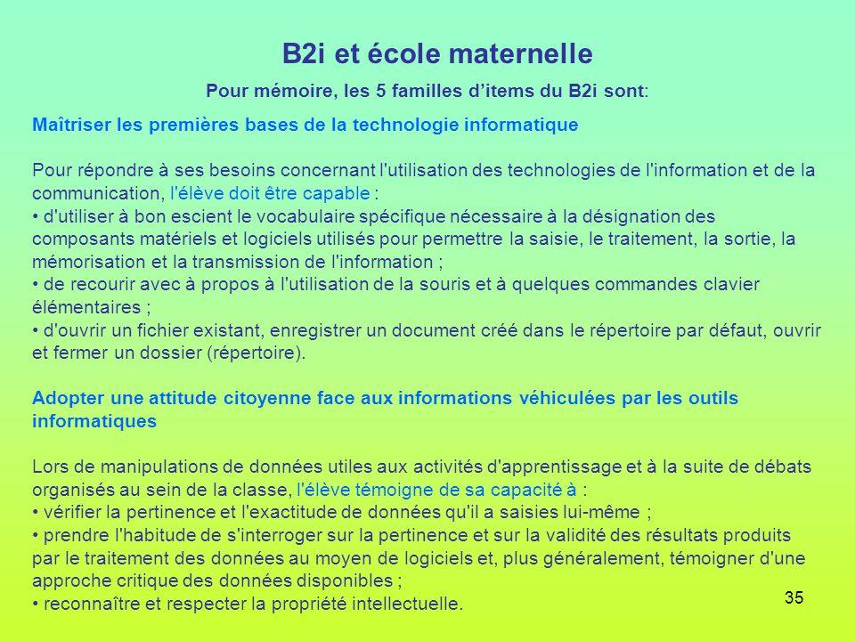 35 B2i et école maternelle Pour mémoire, les 5 familles ditems du B2i sont: Maîtriser les premières bases de la technologie informatique Pour répondre