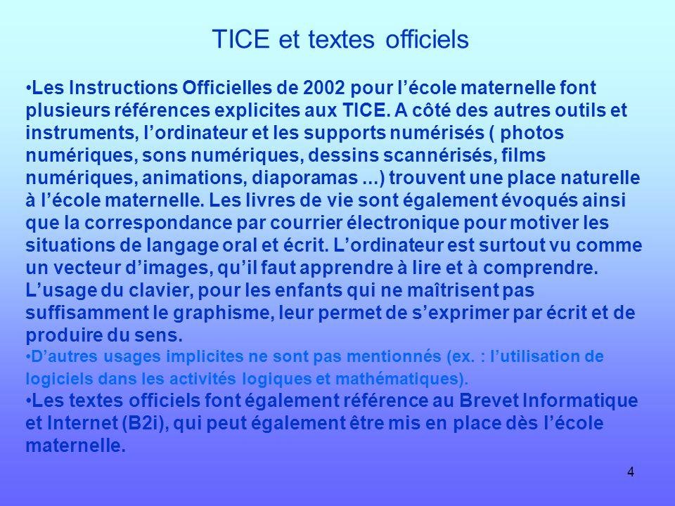 4 TICE et textes officiels Les Instructions Officielles de 2002 pour lécole maternelle font plusieurs références explicites aux TICE. A côté des autre