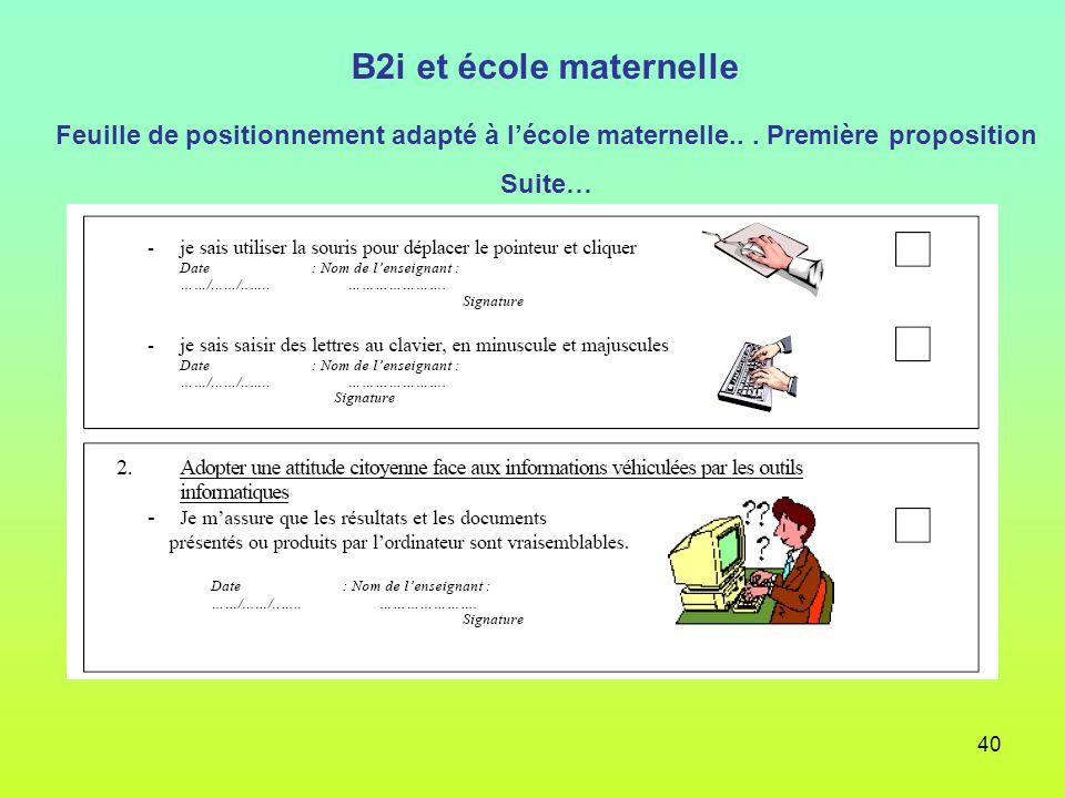 40 B2i et école maternelle Feuille de positionnement adapté à lécole maternelle... Première proposition Suite…