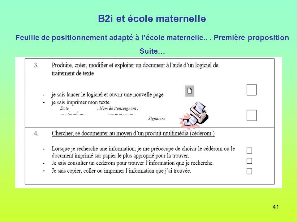 41 B2i et école maternelle Feuille de positionnement adapté à lécole maternelle... Première proposition Suite…