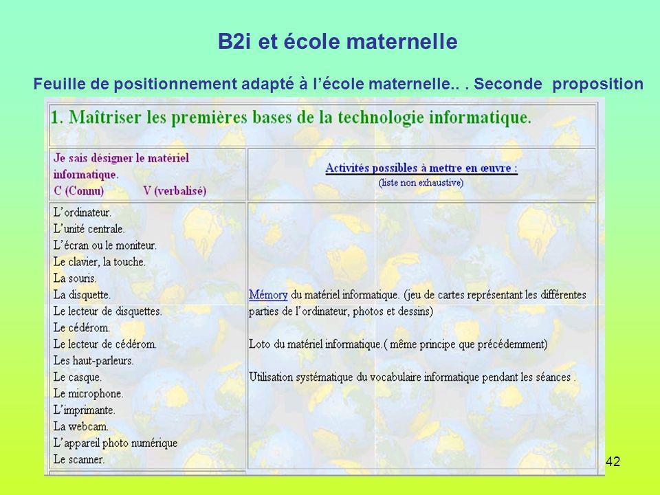 42 B2i et école maternelle Feuille de positionnement adapté à lécole maternelle... Seconde proposition
