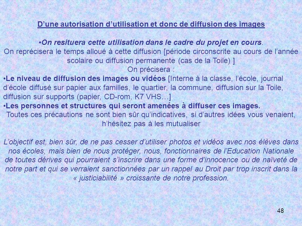 48 Dune autorisation dutilisation et donc de diffusion des images On resituera cette utilisation dans le cadre du projet en cours. On reprécisera le t
