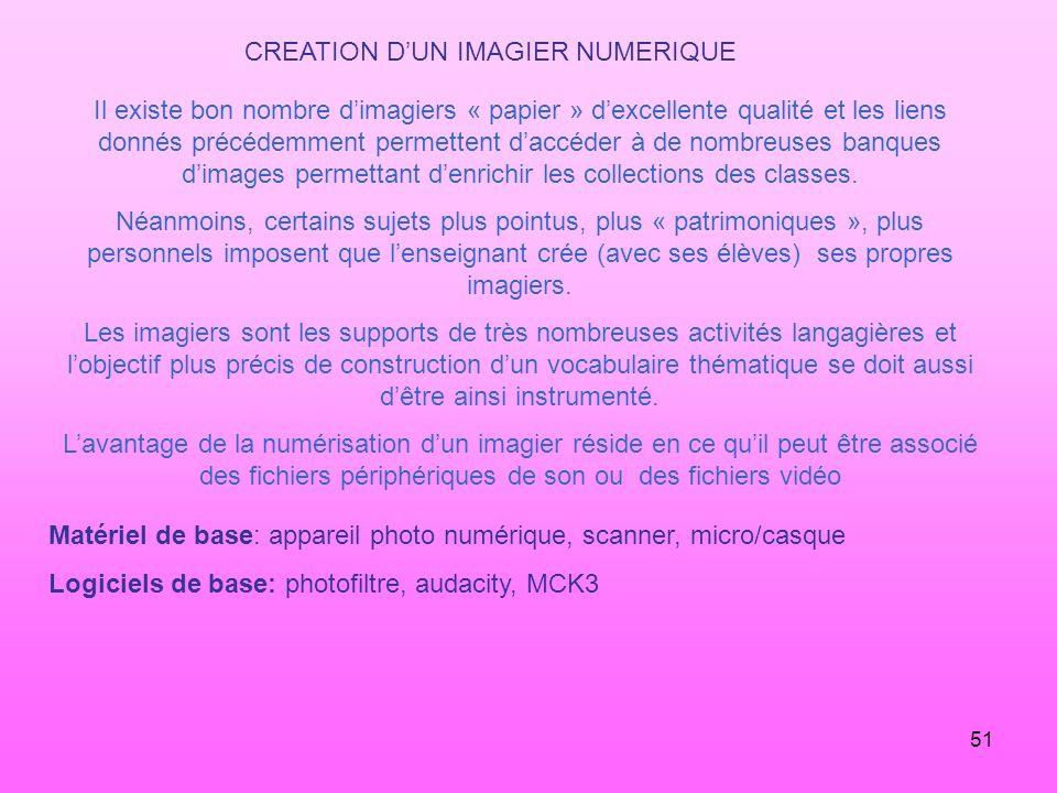 51 CREATION DUN IMAGIER NUMERIQUE Il existe bon nombre dimagiers « papier » dexcellente qualité et les liens donnés précédemment permettent daccéder à