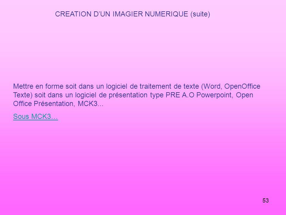53 CREATION DUN IMAGIER NUMERIQUE (suite) Mettre en forme soit dans un logiciel de traitement de texte (Word, OpenOffice Texte) soit dans un logiciel