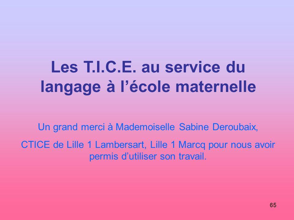65 Les T.I.C.E. au service du langage à lécole maternelle Un grand merci à Mademoiselle Sabine Deroubaix, CTICE de Lille 1 Lambersart, Lille 1 Marcq p