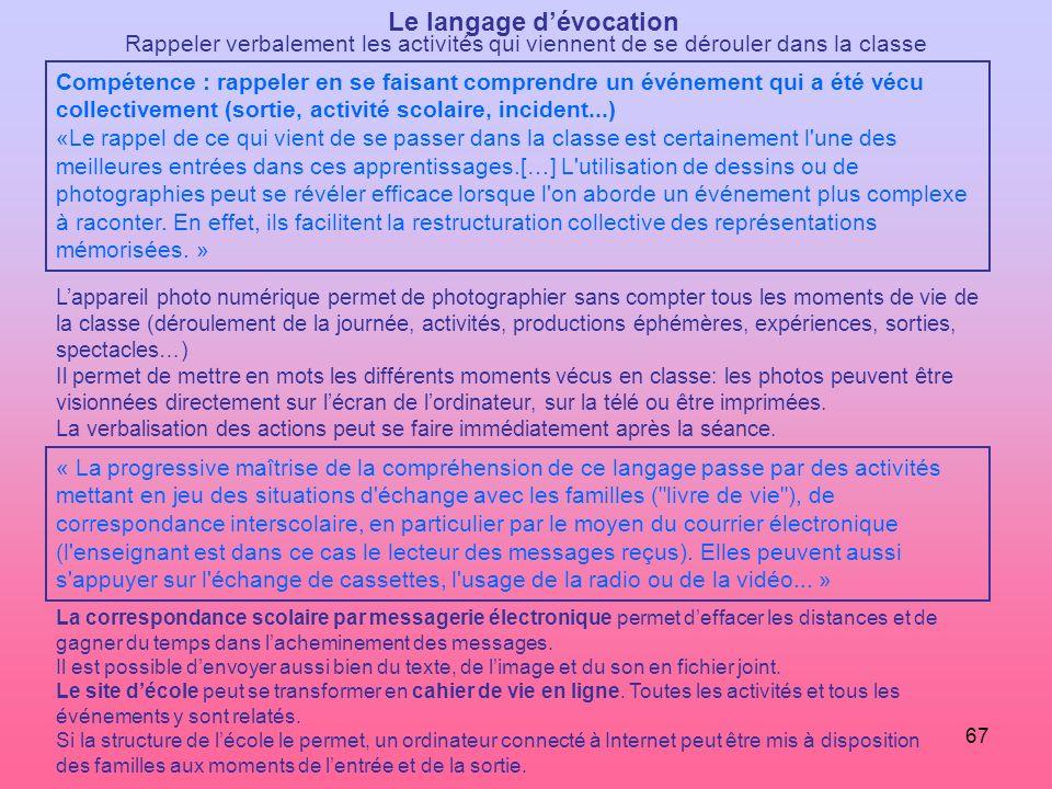 67 Le langage dévocation Rappeler verbalement les activités qui viennent de se dérouler dans la classe Compétence : rappeler en se faisant comprendre