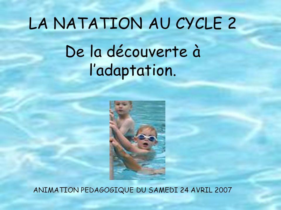 LA NATATION AU CYCLE 2 De la découverte à ladaptation. ANIMATION PEDAGOGIQUE DU SAMEDI 24 AVRIL 2007