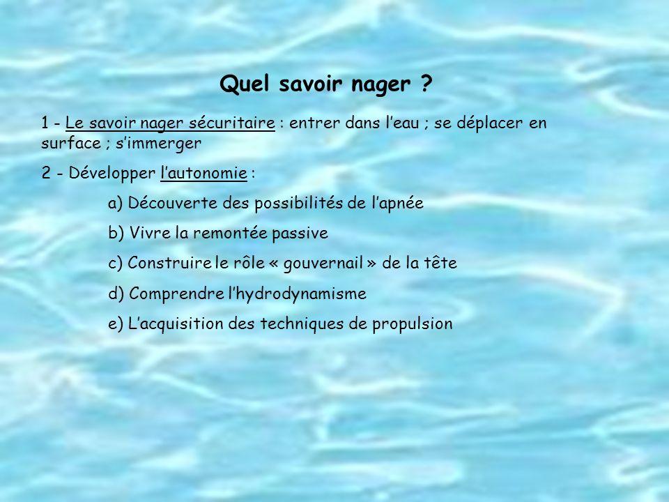Quel savoir nager ? 1 - Le savoir nager sécuritaire : entrer dans leau ; se déplacer en surface ; simmerger 2 - Développer lautonomie : a) Découverte