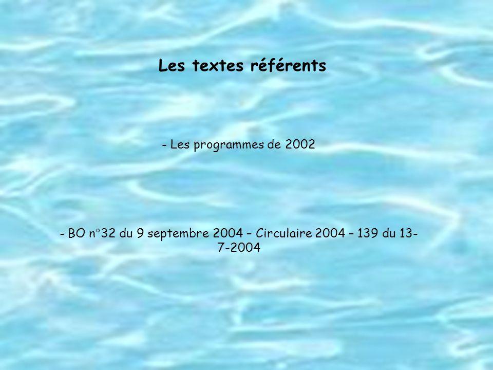 Les textes référents - Les programmes de 2002 - BO n°32 du 9 septembre 2004 – Circulaire 2004 – 139 du 13- 7-2004