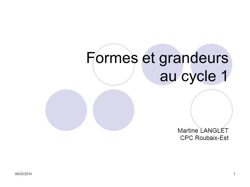 04/03/20141 Formes et grandeurs au cycle 1 Martine LANGLET CPC Roubaix-Est