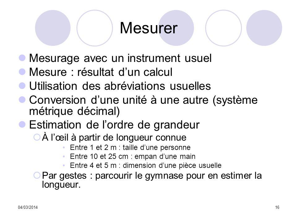 04/03/201416 Mesurer Mesurage avec un instrument usuel Mesure : résultat dun calcul Utilisation des abréviations usuelles Conversion dune unité à une