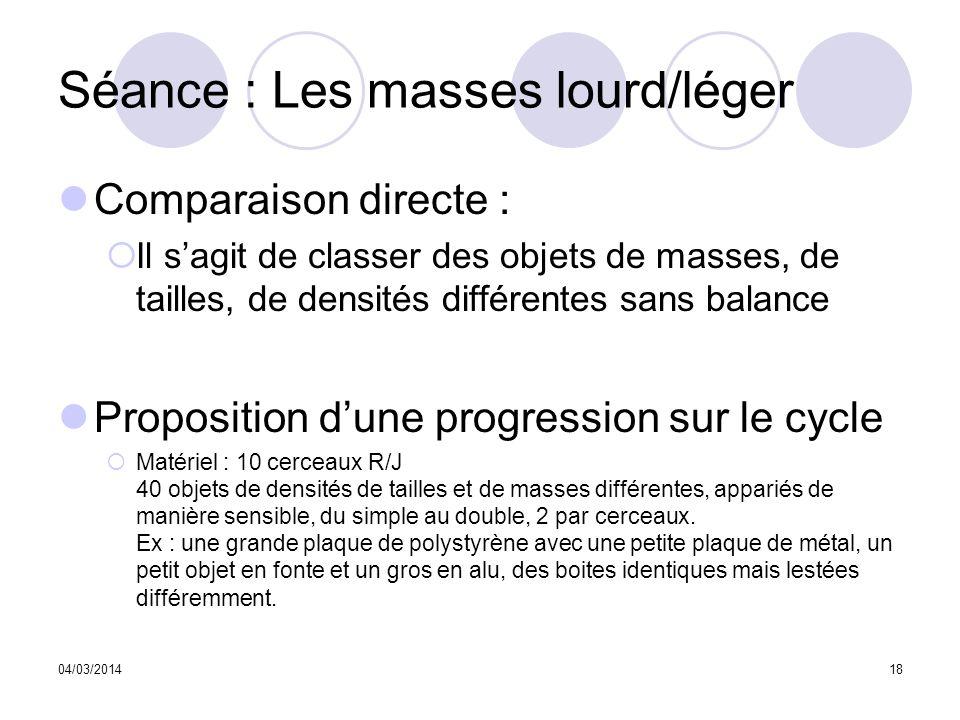 04/03/201418 Séance : Les masses lourd/léger Comparaison directe : Il sagit de classer des objets de masses, de tailles, de densités différentes sans