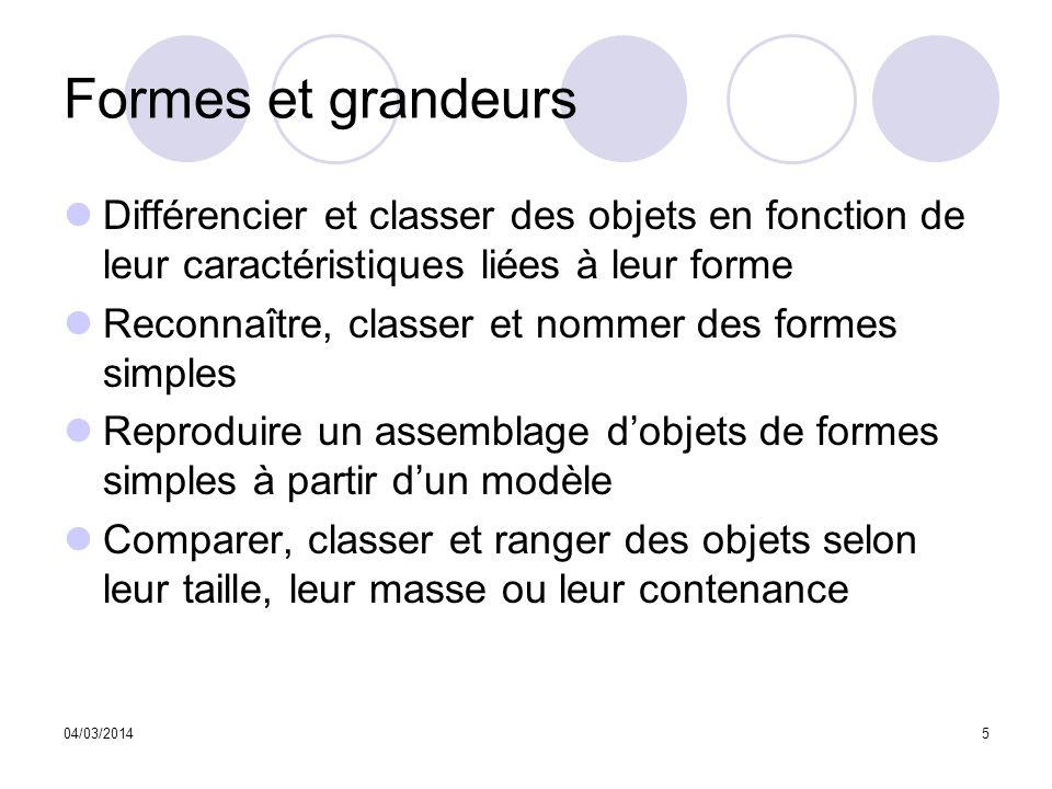 04/03/20145 Formes et grandeurs Différencier et classer des objets en fonction de leur caractéristiques liées à leur forme Reconnaître, classer et nom