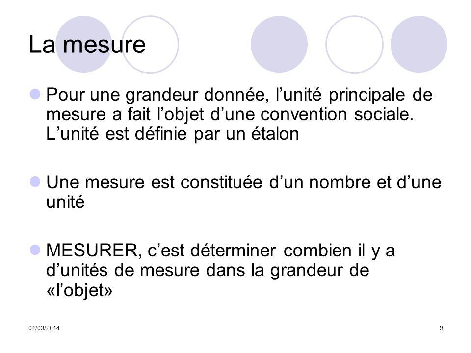 04/03/20149 La mesure Pour une grandeur donnée, lunité principale de mesure a fait lobjet dune convention sociale. Lunité est définie par un étalon Un