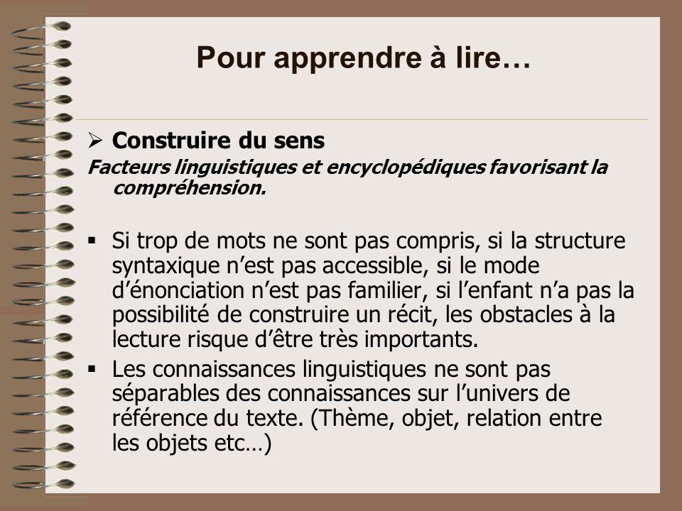 Pour apprendre à lire… Facteurs favorisant le développement des capacités didentification.