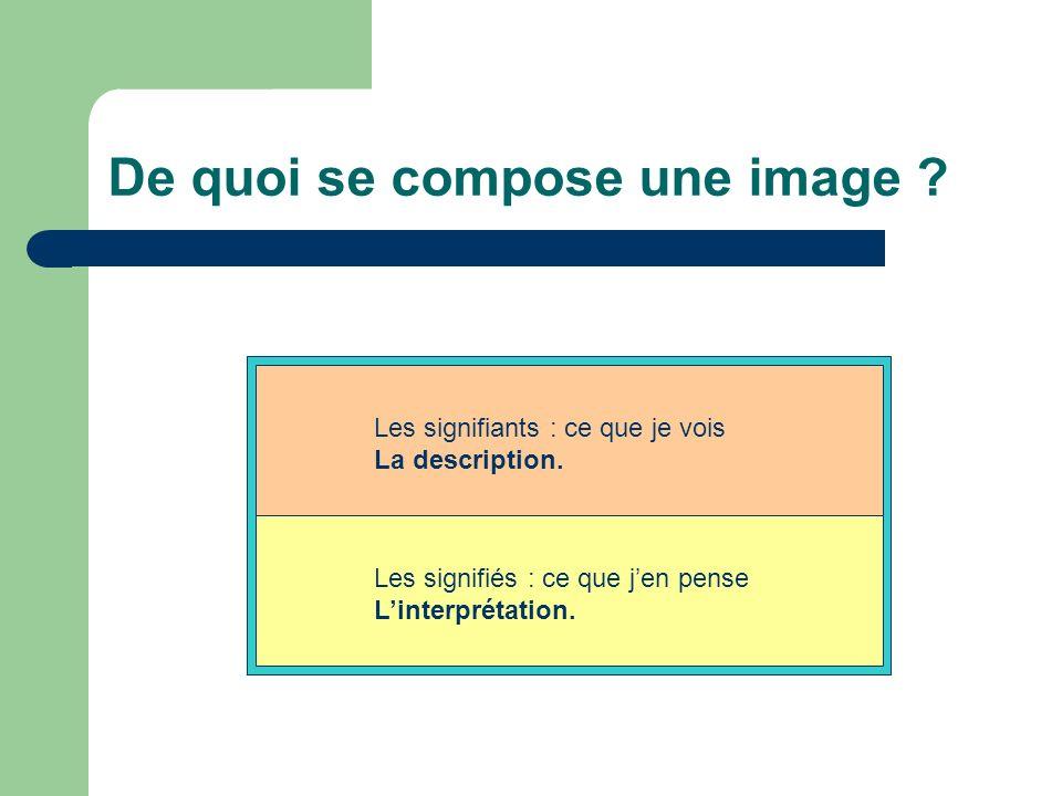 De quoi se compose une image ? Les signifiants : ce que je vois La description. Les signifiés : ce que jen pense Linterprétation.